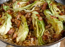 Cabbage braised with shallots and Pancetta