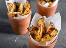 Roast swede wedges with parmesan