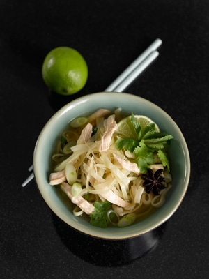 Thai cabbage and chicken noodles