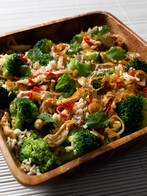 Warm broccoli and chicken Asian rice salad